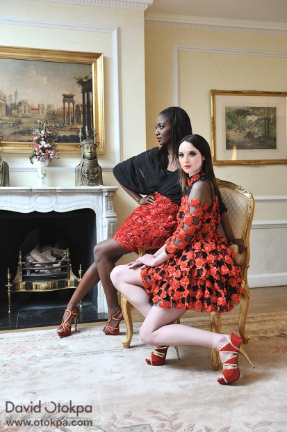 Fashion Models wearing red and black